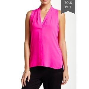 Vince Camuto Pleated V-Neck Tank Top POP Pink